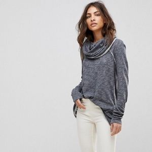 Free People Beach Gray Cocoon Cowl Pullover L
